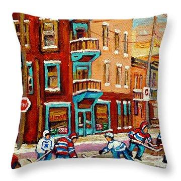 Street Hockey Practice Wilensky's Diner Montreal Winter Street Scenes Paintings Carole Spandau Throw Pillow by Carole Spandau