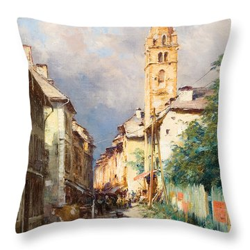Street In Barcelonette Throw Pillow by Charles Alexandre Bertier