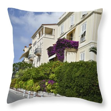 Throw Pillow featuring the photograph Street In Monaco by Allen Sheffield