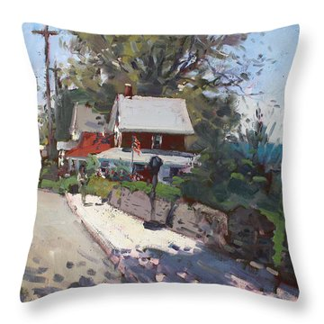 Street In Olcott Beach  Throw Pillow