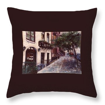 Throw Pillow featuring the painting street in the Village NYC by Walter Casaravilla