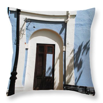 Street Lamp And Blue Throw Pillow