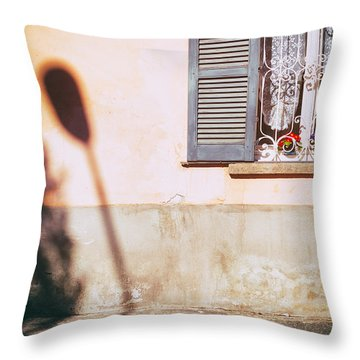 Throw Pillow featuring the photograph Street Lamp Shadow And Window by Silvia Ganora