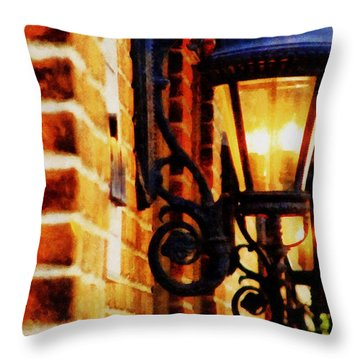 Street Lamps In Olde Town Throw Pillow by Michelle Calkins