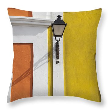 Throw Pillow featuring the photograph Street Light In Old San Juan Streetlight Puerto Rico by Bryan Mullennix