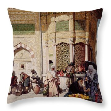 Street Merchant In Istanbul Throw Pillow by Hippolyte Berteaux