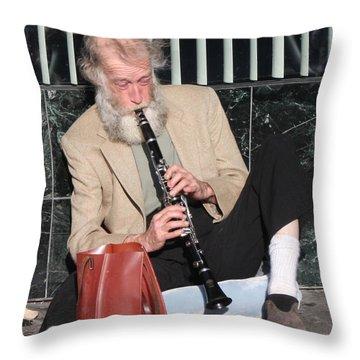 Street Musician Throw Pillow by John Telfer