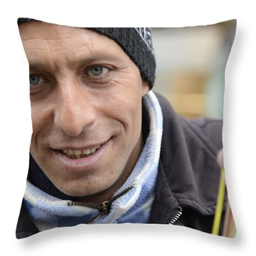 Street Musician - The Gypsy Bassist 1 Throw Pillow