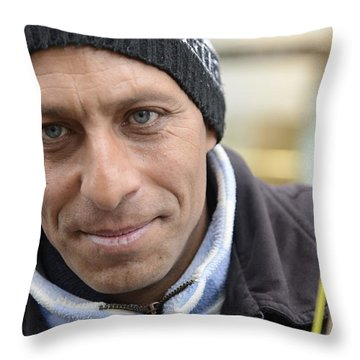 Street Musician - The Gypsy Bassist 2 Throw Pillow