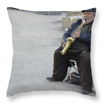 Street Musician - The Gypsy Saxophonist 3 Throw Pillow