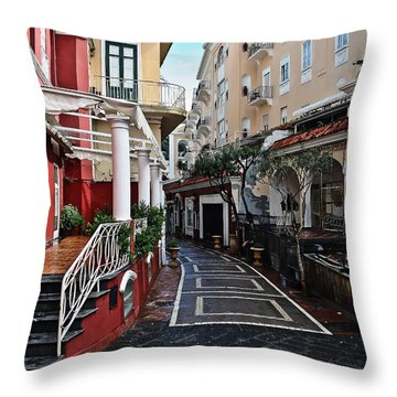Street Of Capri Throw Pillow