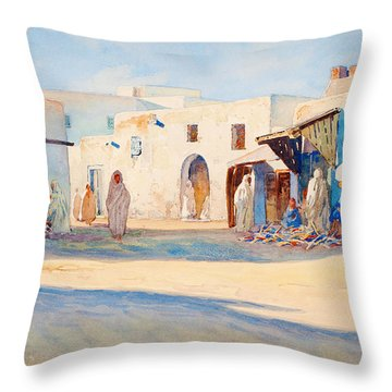 Throw Pillow featuring the painting Street Scene From Tunisia. by Celestial Images
