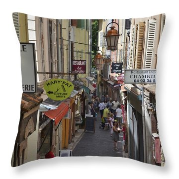 Throw Pillow featuring the photograph Street Scene In Antibes by Allen Sheffield