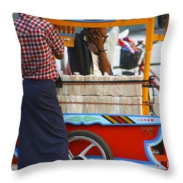 Street Seller At The Foreshore Of The Yangon River Yangon Myanmar Throw Pillow