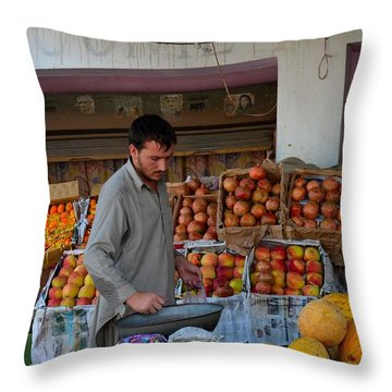 Street Side Fruit Vendor Islamabad Pakistan Throw Pillow by Imran Ahmed