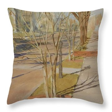 Street Trees With Winter Shadows Throw Pillow