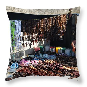 Street Vendor Selling Rosaries Throw Pillow by Amy Cicconi