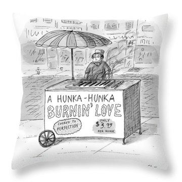 Street Vendor Stands Behind His Cart Throw Pillow