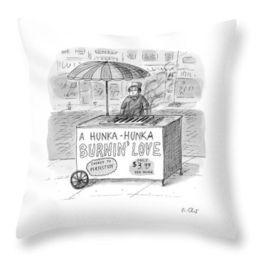 Street Vendor Stands Behind His Cart Throw Pillow