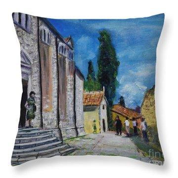 Street View In Rovinj Throw Pillow