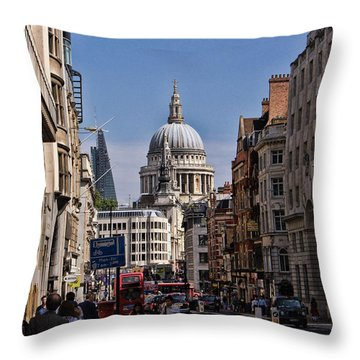 Street View Of St Paul's Cathedral Throw Pillow by Nicky Jameson