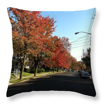 Street View Staten Island Throw Pillow by Kenneth Cole