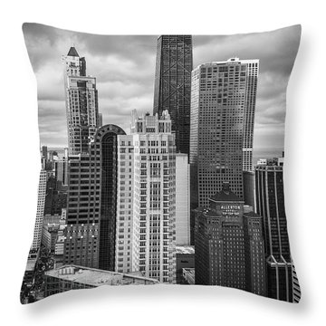 Streeterville From Above Black And White Throw Pillow by Adam Romanowicz