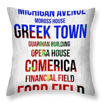 Streets Of Detroit 1 Throw Pillow