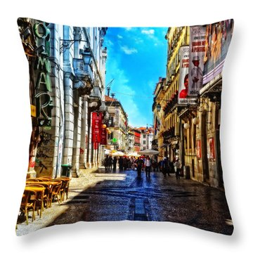 Streets Of Lisbon 1 Throw Pillow by Mary Machare