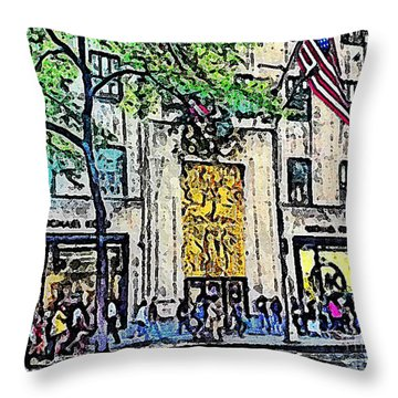Streets Of Nyc 7 Throw Pillow by Mario Perez