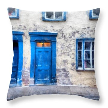 Streets Of Old Quebec 2 Throw Pillow