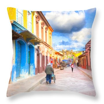 Streets Of San Cristobal De Las Casas - Colorful Mexico Throw Pillow by Mark E Tisdale