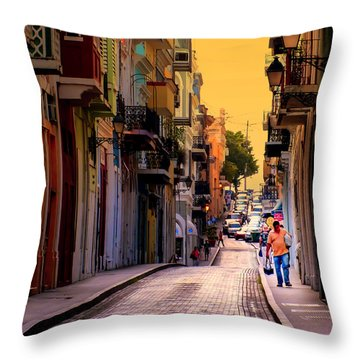 Streets Of San Juan Throw Pillow by Karen Wiles