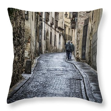 Streets Of Segovia Throw Pillow by Joan Carroll