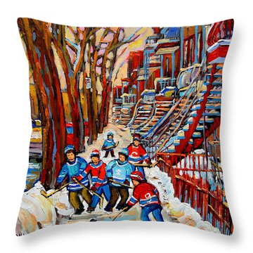 Streets Of Verdun Hockey Art Montreal Street Scene With Outdoor Winding Staircases Throw Pillow by Carole Spandau
