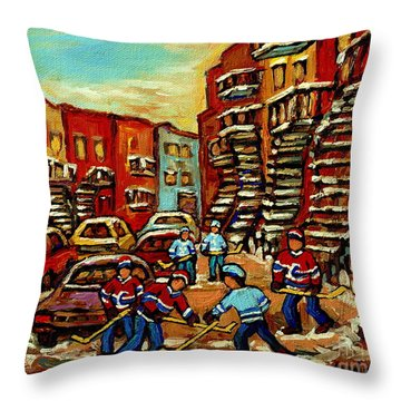 Streets Of Verdun Paintings He Shoots He Scores Our Hockey Town Forever Montreal City Scenes  Throw Pillow by Carole Spandau