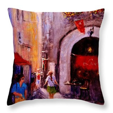 Throw Pillow featuring the painting Streets Of Vernazza.. by Cristina Mihailescu