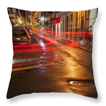 Throw Pillow featuring the photograph Streetscene At Night In Old San Juan Puerto Rico by Bryan Mullennix