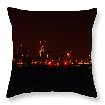 Streetview From Brightly Colorful Fireworks Throw Pillow by Yvon van der Wijk