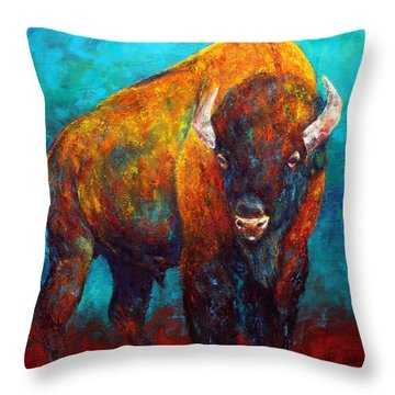 Strength Of The Bison Throw Pillow