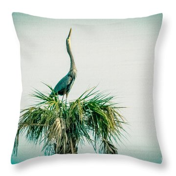 Stretching Heron Throw Pillow by Bob and Nancy Kendrick