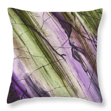 Striations In Eggplant - Muted Throw Pillow