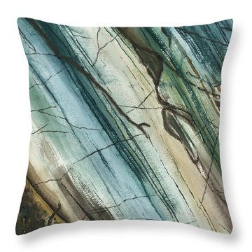 Striations In Natural - Muted Throw Pillow