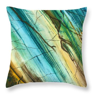 Striations In Natural Throw Pillow