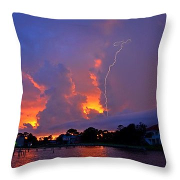 Strike Up The Middle At Sunset Throw Pillow