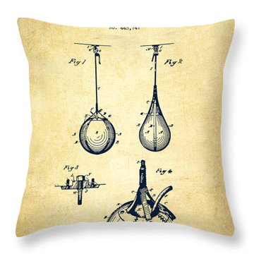 Striking Bag Patent Drawing From 1891 - Vintage Throw Pillow by Aged Pixel