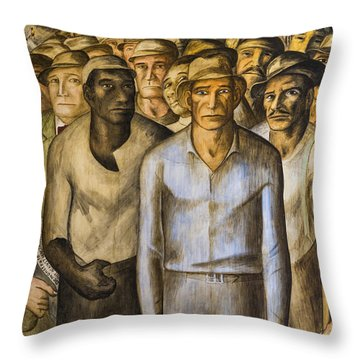 Striking Miners Mural In Coit Tower Throw Pillow by Adam Romanowicz