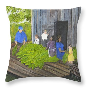 Stringing Tobacco Throw Pillow