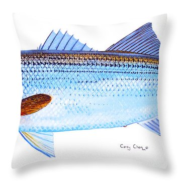 Striped Bass Throw Pillow