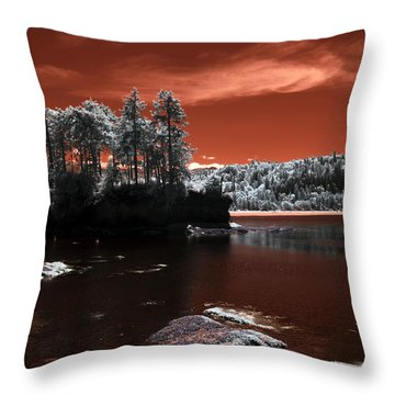 Striped Peak Tide In Throw Pillow by Rebecca Parker